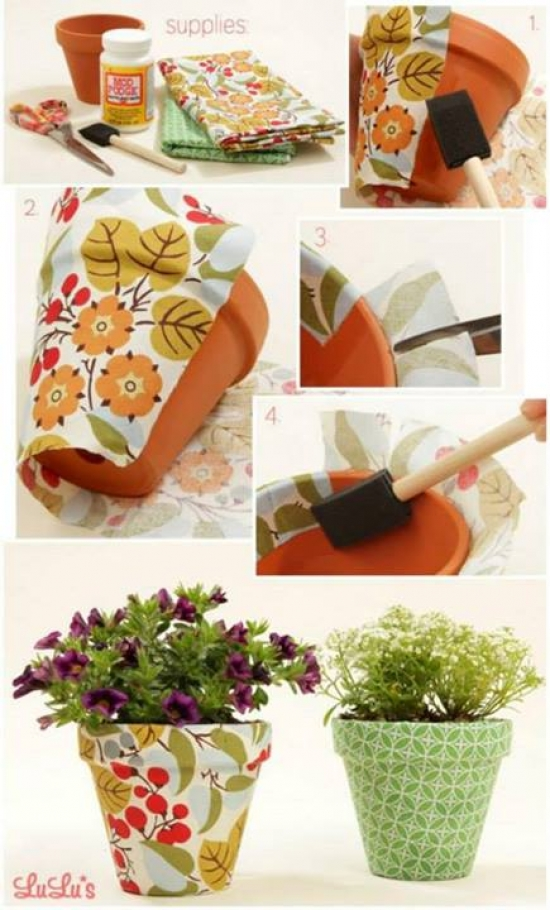 Pots with Fabric - New Style for Old Pots