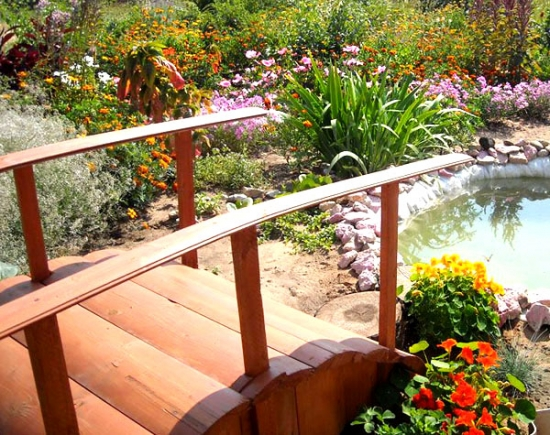 Decorative wooden bridge in the garden