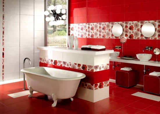 Red bathrooms interiors