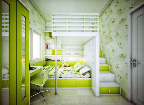 30 green, cool and original interiors for kid's room